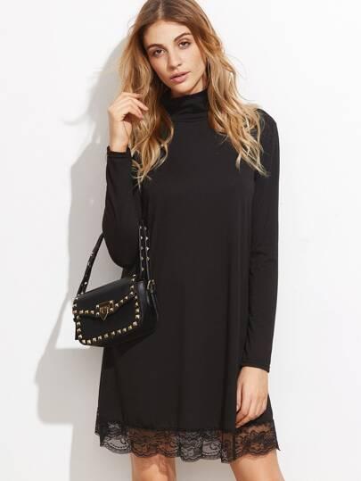Black High Neck Lace Hem Shift Dress