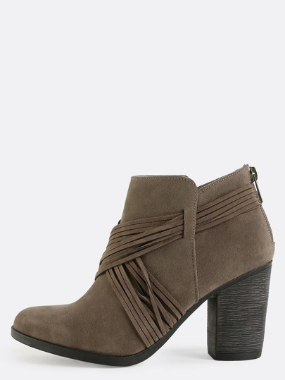 Strappy Wrap Around Ankle Boots TAUPE