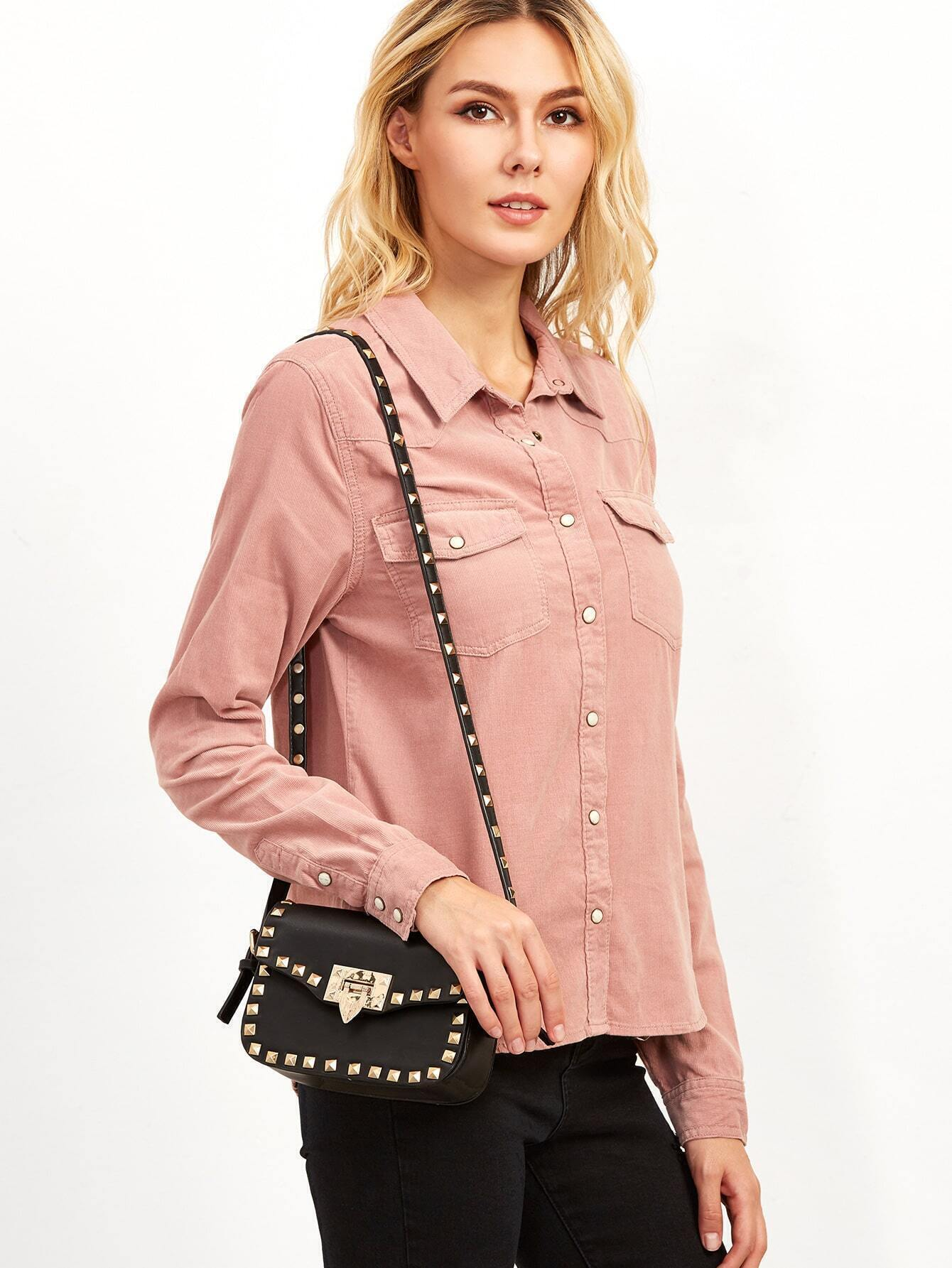 SheIn Pink Dual Pocket Front Button Up Blouse