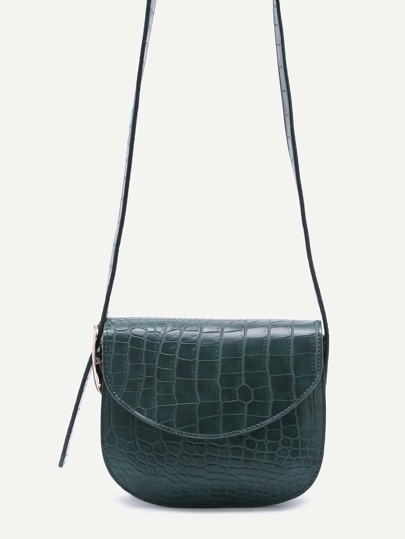 Green Croc Embossed Leather Saddle Bag