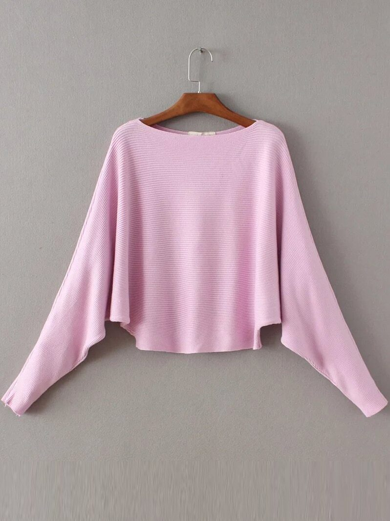 Pink Boat Neck Batwing Sleeve Knitwear sweater161024201