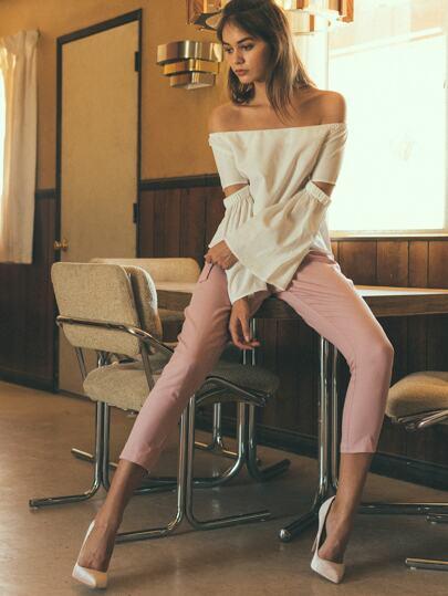 Pantalones crop skinny - rosa