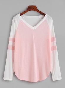 Pink Contrast Raglan Sleeve V Neck T-shirt