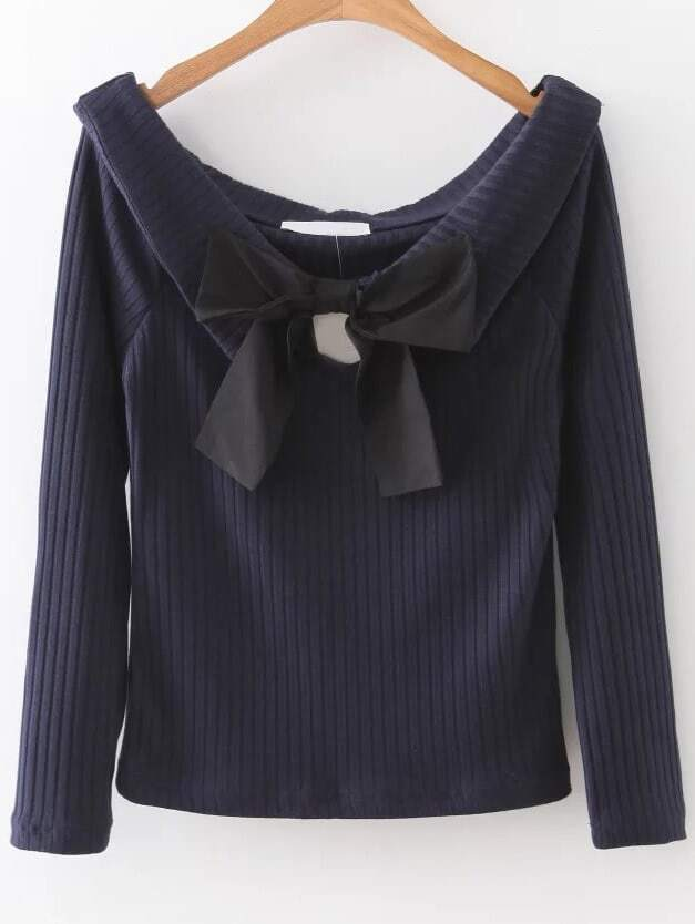 Navy Boat Neck Ribbed Knitwear With Bow sweater161019202