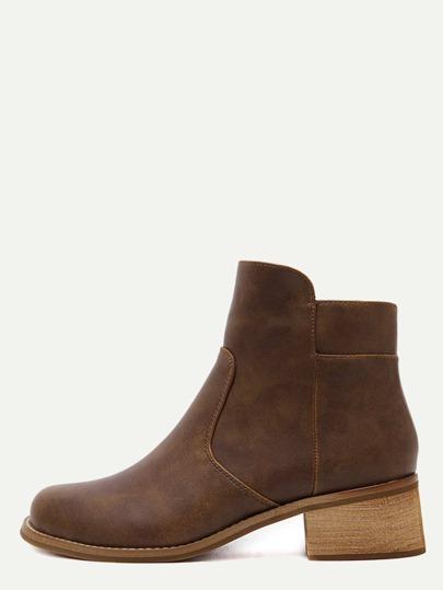 Brown Faux Leather Side Zipper Cork Heel Booties