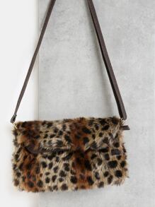 Faux Fur Crossbody Handbag LEOPARD