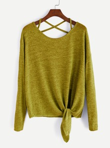 Olive Green Drop Shoulder Criss Cross Tie Front T-Shirt