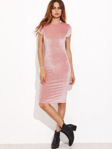 Pink Mock Neck Velvet Pencil Dress