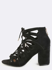 Lace Up Cut Out Chunky Heels BLACK