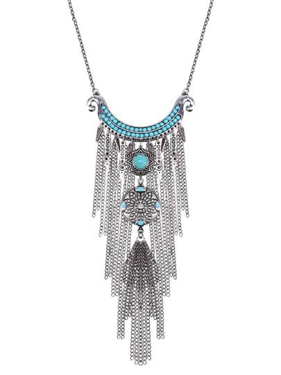 Silver Chain Fringe Turquoise Vintage Pendant Necklace
