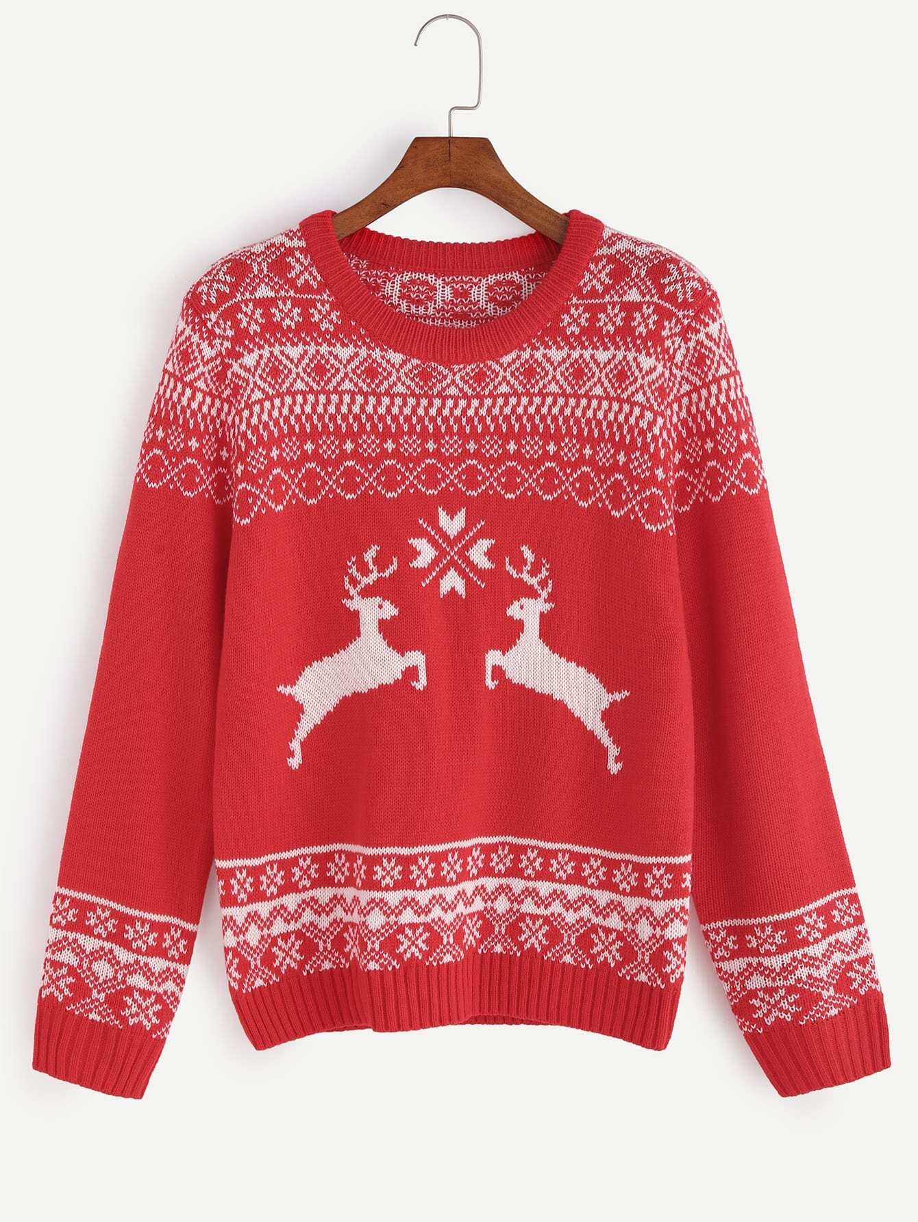 Red Ribbed Trim Ugly Christmas Sweater sweater161013456