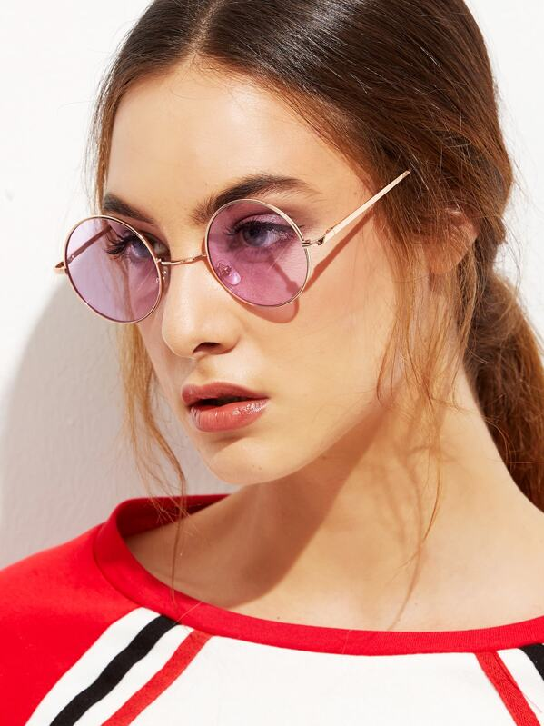 Gold Metal Frame Round Glasses, null