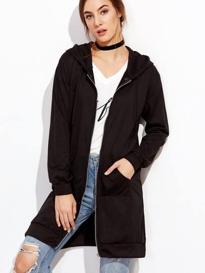 Black Zip Up Slit Side Hooded Sweatshirt