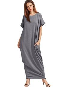 Heather Grey Short Sleeve Pockets Maxi Dress