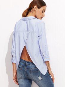 Asymmetrische Bluse mit Vertikaln Streifen Schlitz -blau