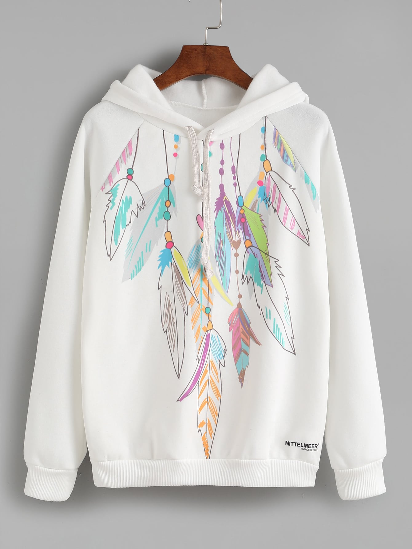 Feather Print Hooded Sweatshirt hooded coconut palm print sweatshirt