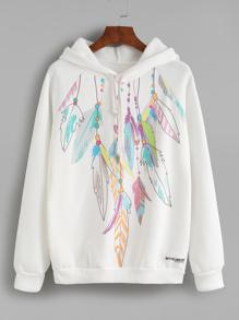 Sudadera estampada de pluma con capucha - blanco