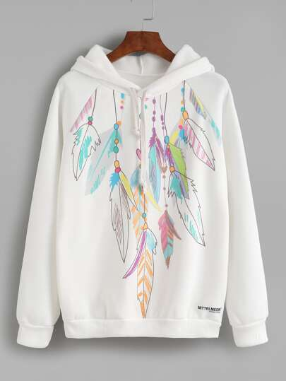 Feather Print Hooded Sweatshirt