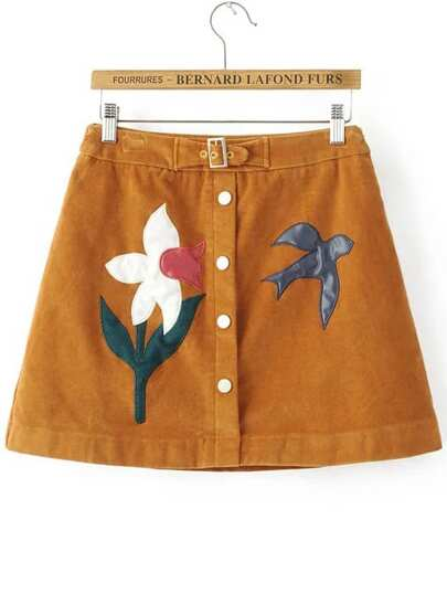 Flower Swallow Patch Suede Button Skirt With Buckle