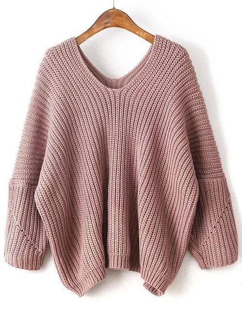 Pink V Neck Drop Shoulder Oversized SweaterPink V Neck Drop Shoulder Oversized Sweater<br><br>color: Pink<br>size: one-size