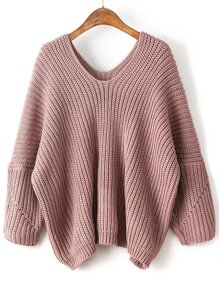Pink V Neck Drop Shoulder Oversized Sweater