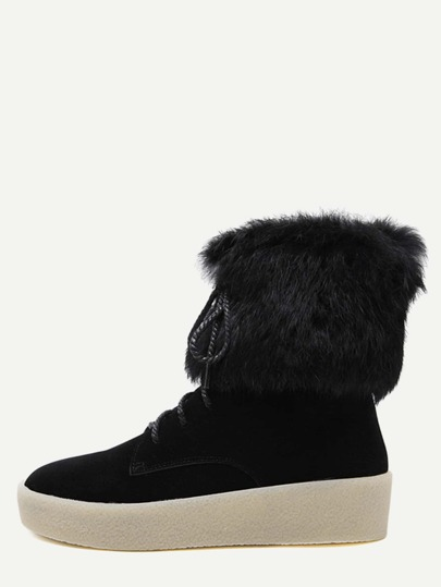 Black Lace Up Faux Fur Cuff Ankle Boots