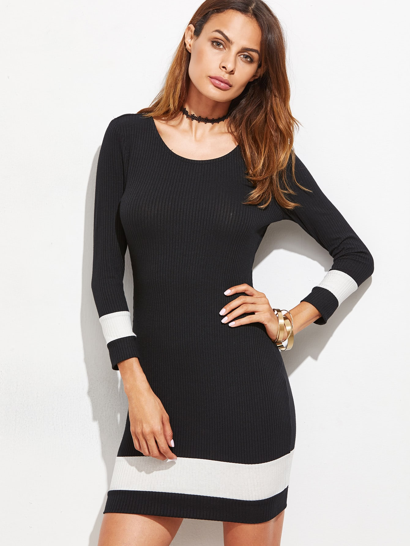 Black Contrast Panel Ribbed Bodycon Dress dress161019729