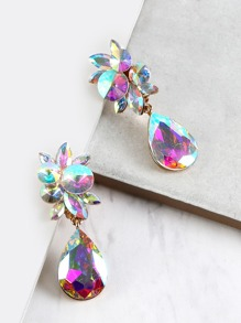 Iridescent Teardrop Clip Earrings WHITE