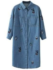 Blue Embroidery Denim Shirt Dress