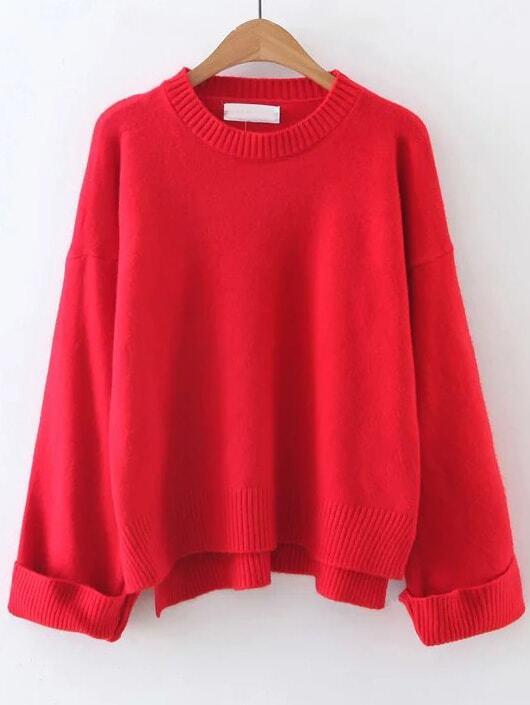 Red Ribbed Trim Dip Hem Sweater sweater161024233