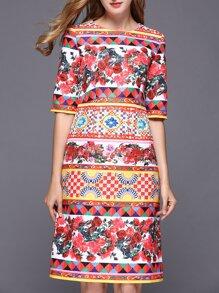 Multicolor Vintage Jacquard Shift Dress