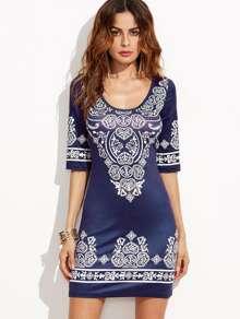 Blue Vintage Print Bodycon Dress