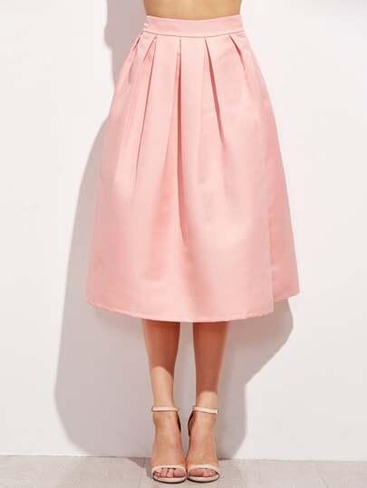 Zipper Side Box Pleated Skirt