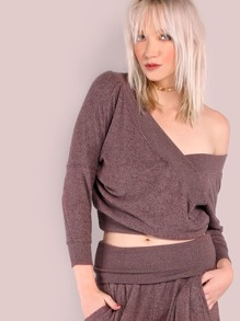 Peakaboo Back Wrap Pullover RED BEAN