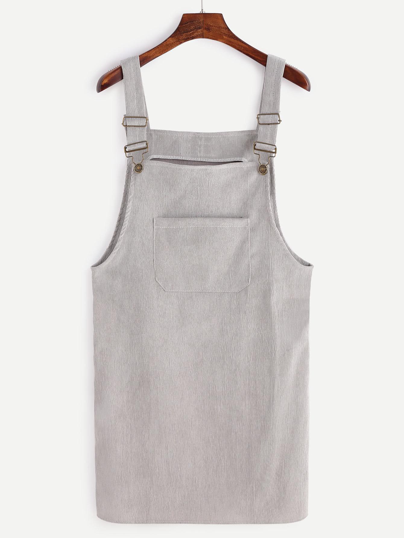 Grey Corduroy Overall Dress With Pocket dress161021101