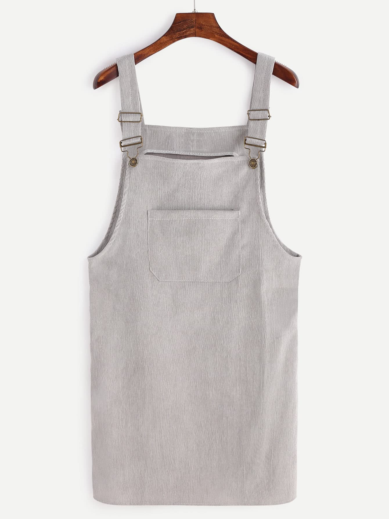 Grey Corduroy Overall Dress With Pocket dress161021101