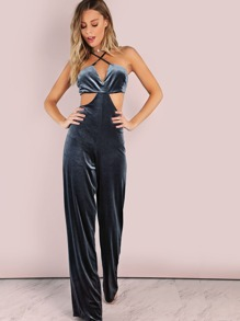 Crossback Velvet Side Cut Out Wide Leg Jumpsuit INDIGO