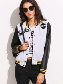 Contrast Sleeve Striped Trim Baseball Jacket