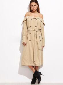 Khaki Foldover Cold Shoulder Belted Trench Coat