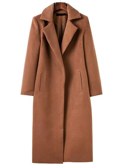 Brown Lapel Neck Pocket Long Coat