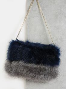 Faux Fur Chain Crossbody NAVY