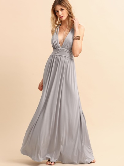Grey Deep V Neck Crisscross Back Belted Dress