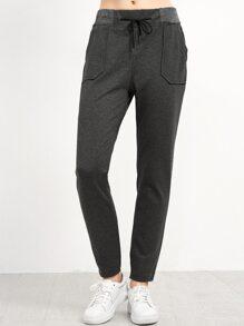 Dark Grey Pockets Drawstring Pants