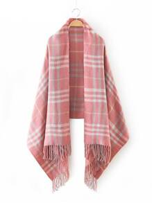 Pink Plaid Fringe Edge Scarf