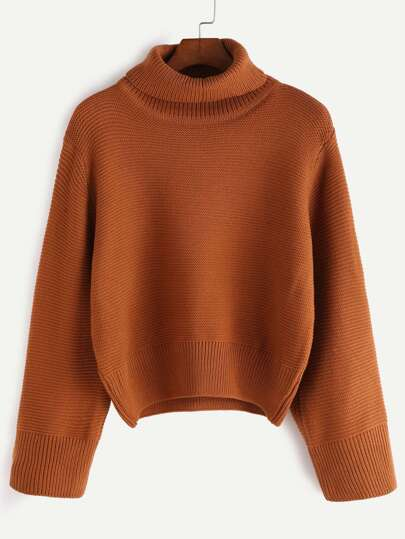 Khaki Turtleneck Loose Sweater -SheIn(Sheinside)