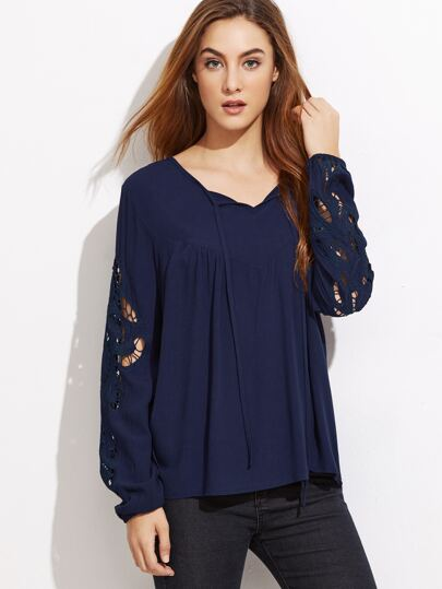 Navy Embroidered Hollow Out Sleeve Blouse