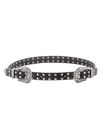Silver Double Buckle Studded Faux Leather Belt