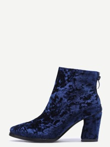 Diamond Velvet Navy Point Toe Chunky Heel Booties