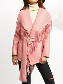 Pink Drop Shoulder Belted Oversized Fringe Collar Coat