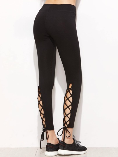Lace Up Self Tie Hem Leggings